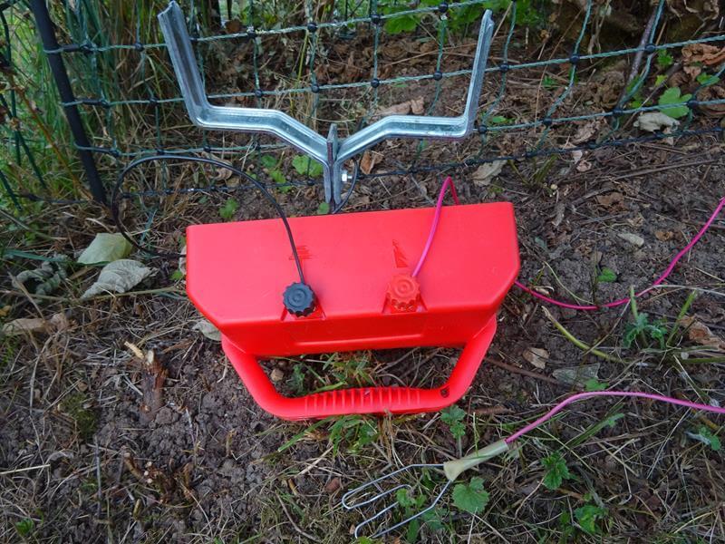 Der Erdungsstab wurde mit dem schwarzen Kabel mit dem Elektrozaungerät verbunden.